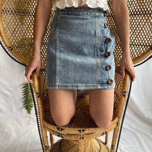 High Waisted Denim Side Button Mini Skirt
